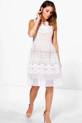 Boutique Ashlee Crochet Underlay Dress