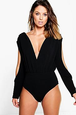 Ria Plunge Cold Shoulder Bodysuit