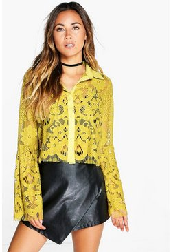 Lola Boutique Lace Bell Sleeve Crop Shirt