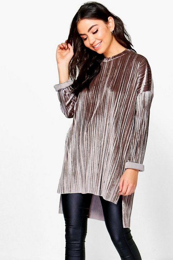 Cara Boutique Pleated Velvet Dip  Back Tunic Top