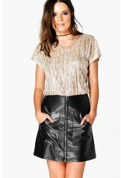 Laura Crinkle Metallic Oversized Top