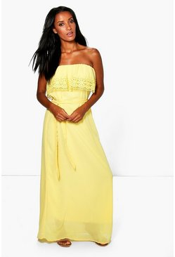 Emi Lace Trim Chiffon Off Shoulder Maxi Dress