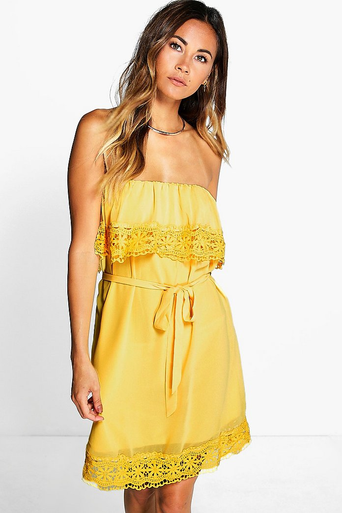 Cleopatra Lace Trim Off Shoulder Dress