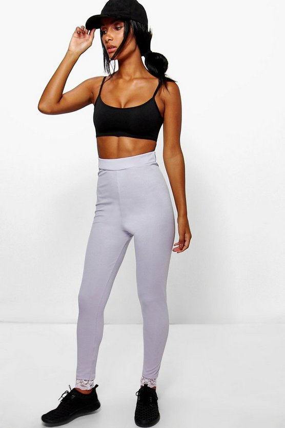 Royah Ribbed High Waist Lace Trim Leggings