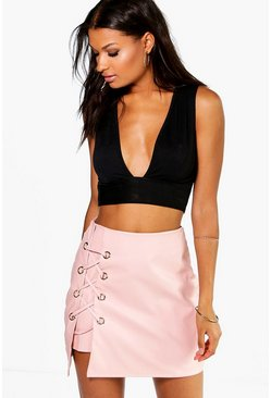 Sofia Lace Up Side Leather Look Mini Skirt