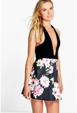 Saffy Large Floral A Line Mini Skirt