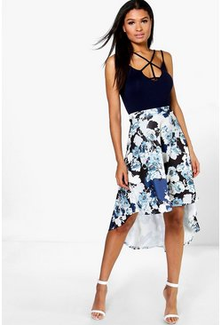 Boutique Cate Floral Dipped Hem Midi Skirt