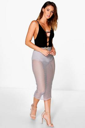 Carmel Large Mesh Longer Line Midi Skirt