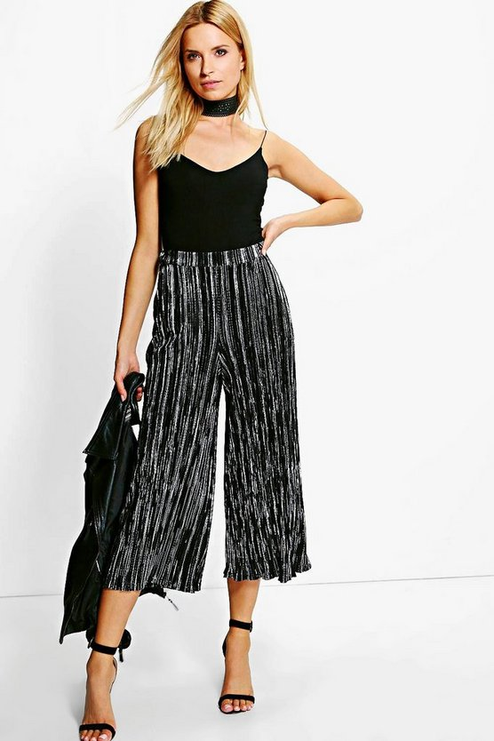 Ruby Metallic Pleated Culottes