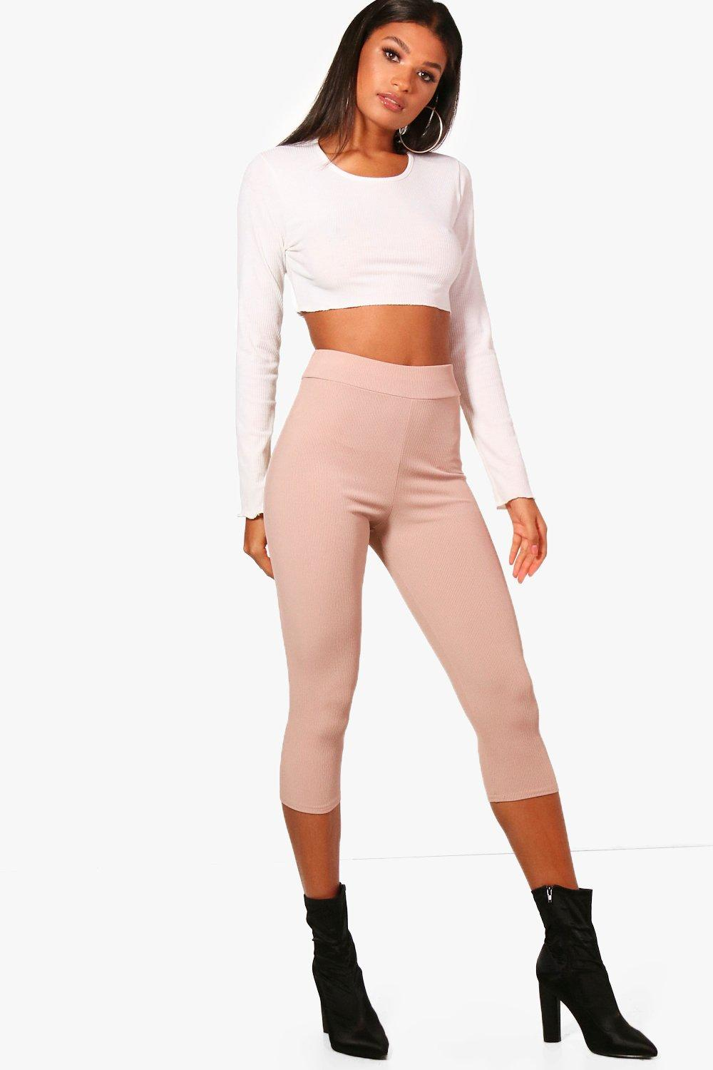 Ria Stretch Rib High Waist Cropped Leggings
