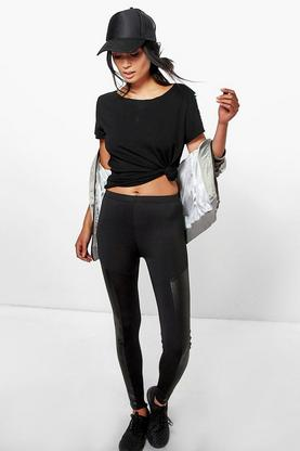 Maddie Leather Look Side Panel Leggings