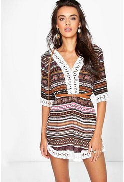 Stacey Paisley Stripe Print Lace Trim Dress