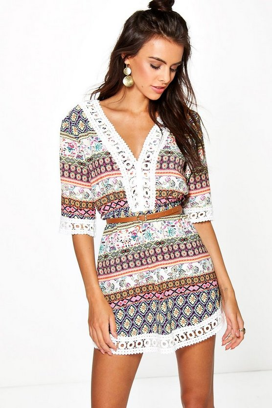 Brianna Flower Printed Lace Trim Dress