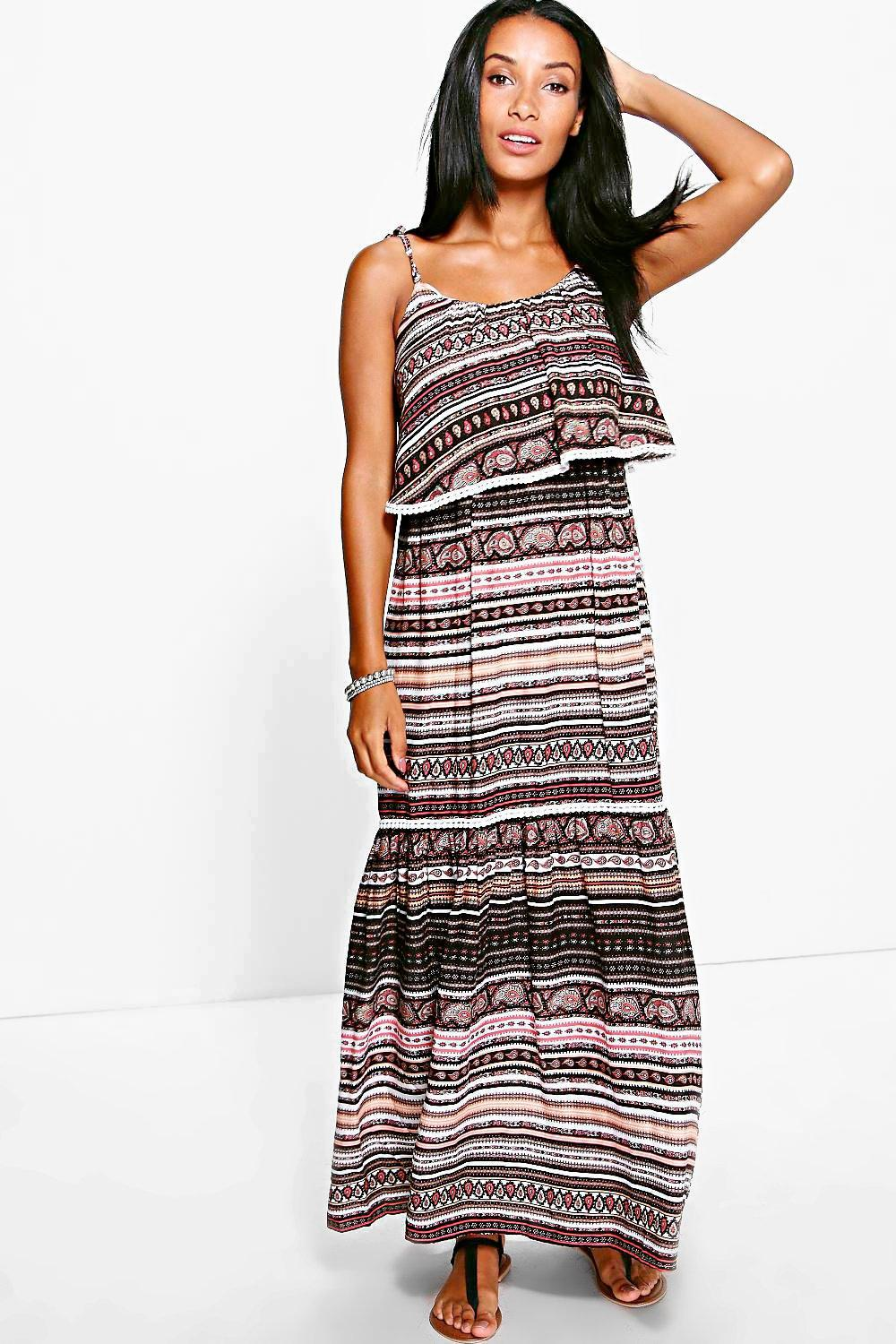 Caitriona Trim Detail Printed Maxi Dress