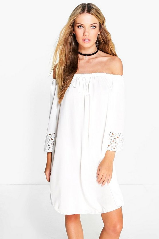 Eleanor Off Shoulder Crochet Sleeve Dress
