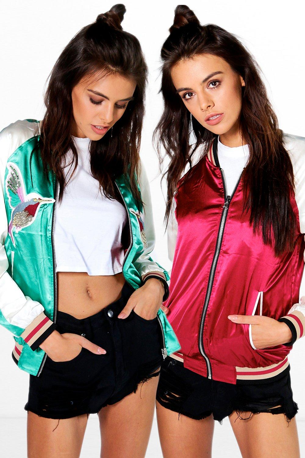 Product photo of Evie reversible embroidered satin bomber green