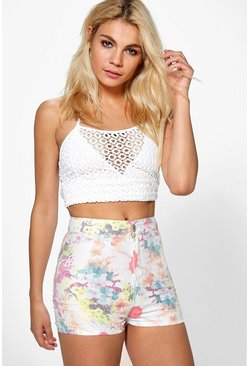 Kellie Floral Denim Tube Shorts
