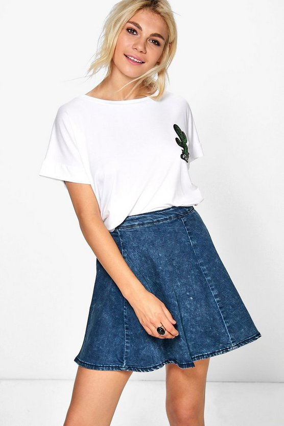 Joanna Denim Skater Skirt