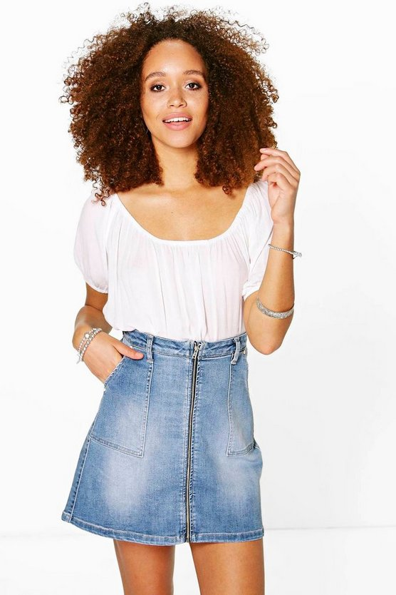 Nina Zip Through Denim A Line Mini Skirt