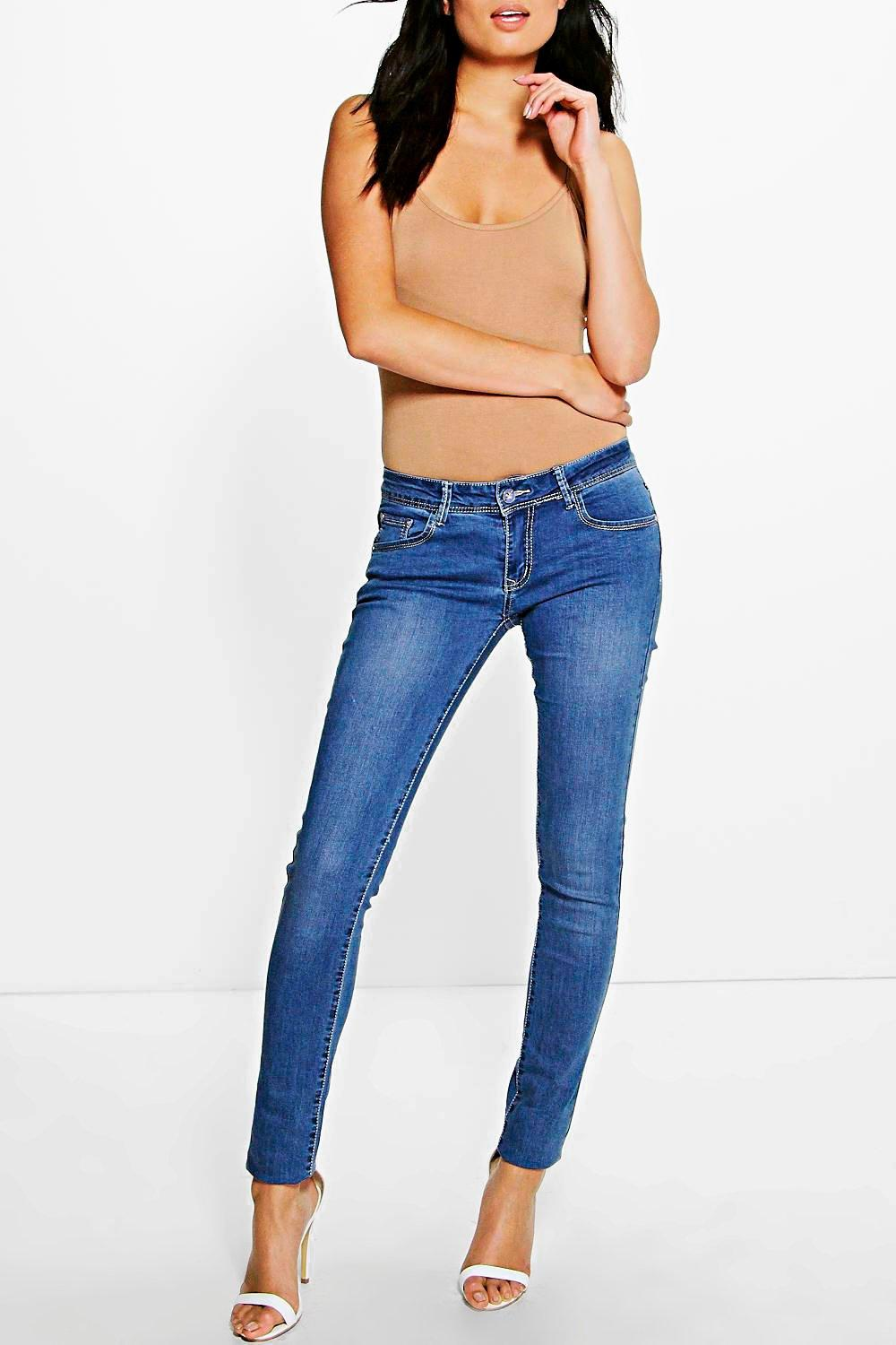 Low Rise Mid Wash Skinny Jeans - mid blue