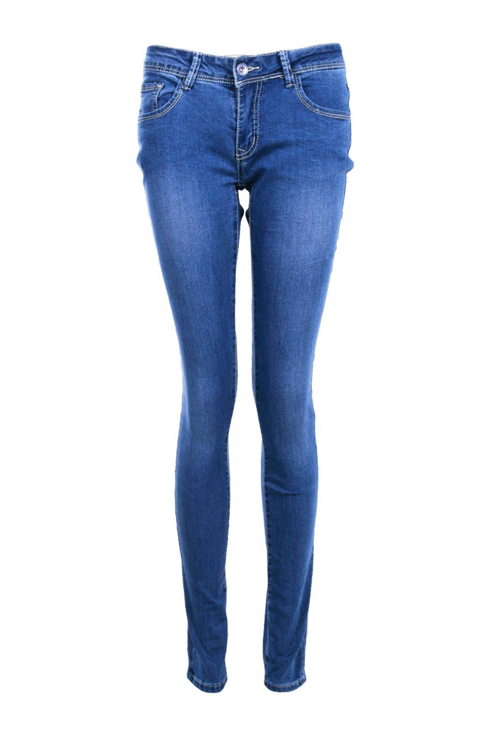 boohoo womens kellie low rise mid wash skinny jeans ebay. Black Bedroom Furniture Sets. Home Design Ideas