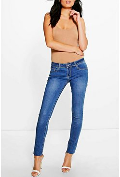 Kellie Low Rise Mid Wash Skinny Jeans