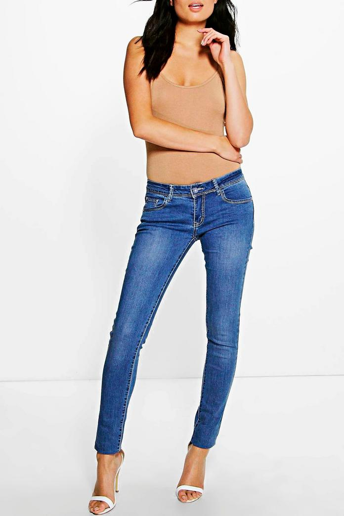 kellie low rise mid wash skinny jeans boohoo. Black Bedroom Furniture Sets. Home Design Ideas