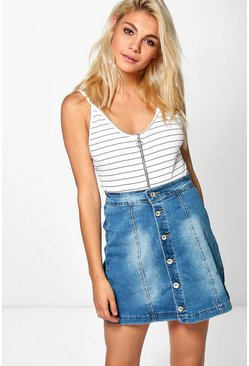 Elsie Button Through Denim A Line Skirt