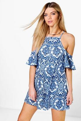 Leila Off the Shoulder Porcelain Print Playsuits