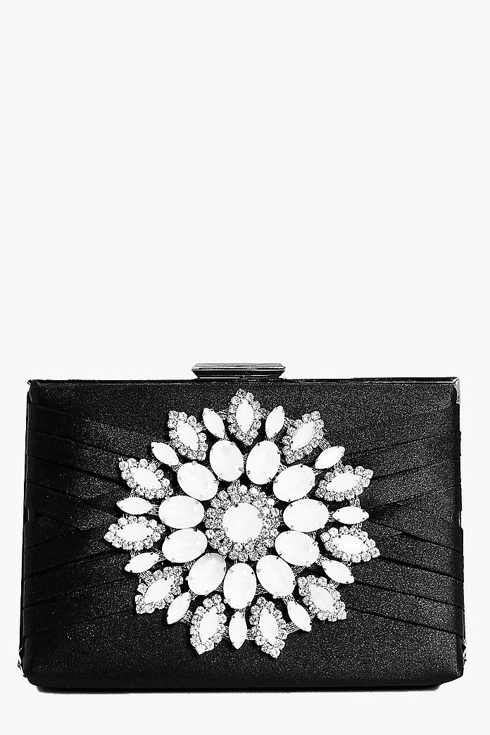 Lexi Boutique Diamante Floral Box Clutch Bag