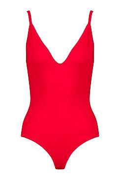 Basic V Neck Strappy Bodysuit