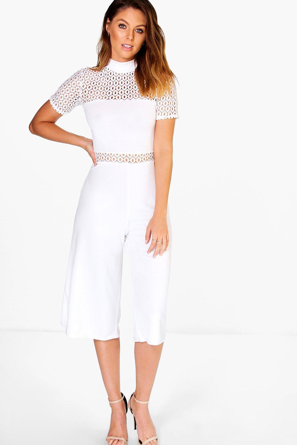 Hanna Crochet High Neck Culotte Jumpsuit
