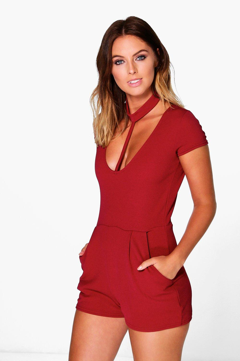Juliet Choker Detail Capped Sleeve Playsuit