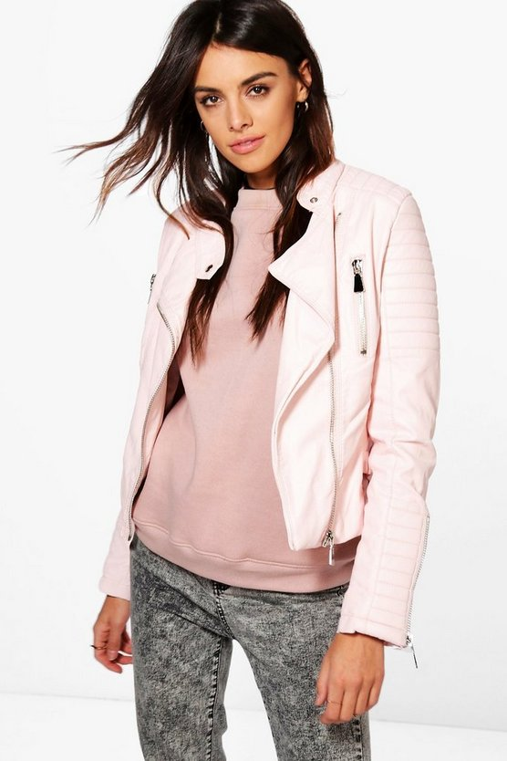 Boutique Harriet Leather Look Quilted Biker Jacket