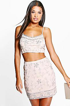 Lexi Embellished Bralet And Mini Skirt