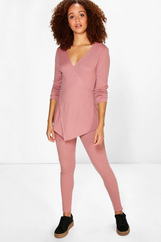 Erica Crossover Rib Knit Lounge Set