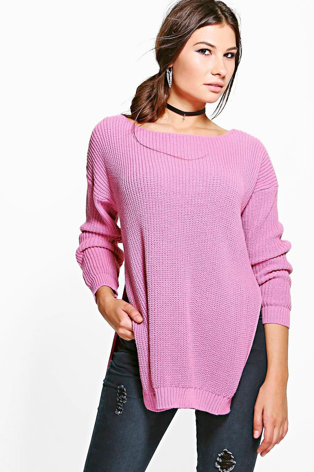 Allie Round Neck Oversized Side Split Jumper