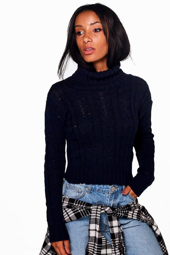 Ria Marl Cable Knit Chunky Crop Jumper
