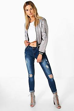 Pamela 5-Pocket Low Rise Distress Skinny Jeans