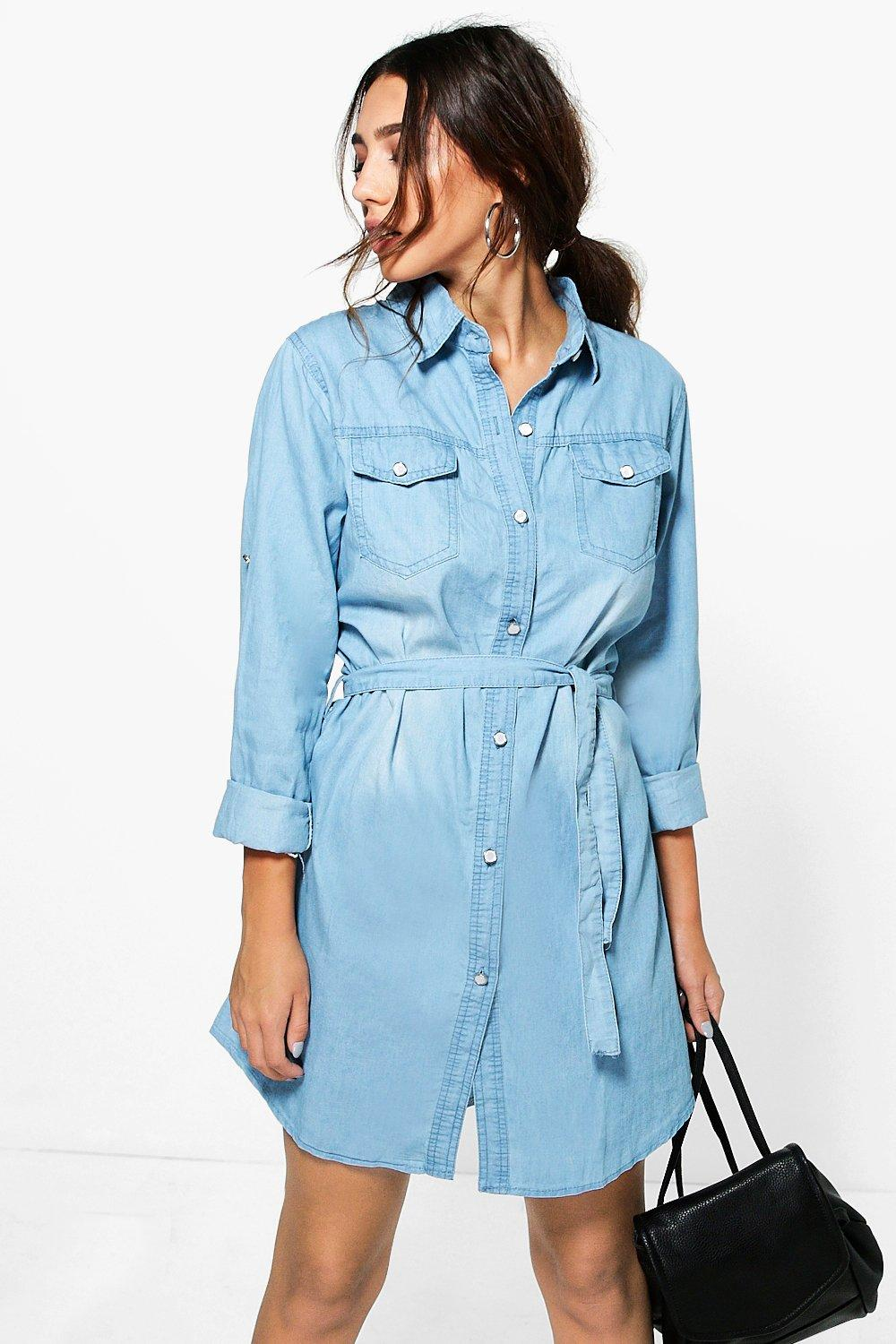 Abby Tie Waist Denim Shirt Dress