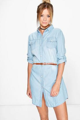 Dalia Denim Shirt Dress With Plait Belt