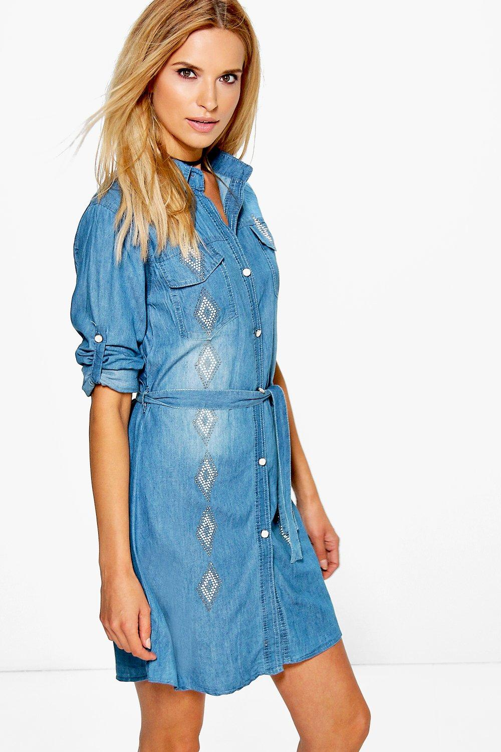 Lyndsey Embroidered Denim Shirt Dress