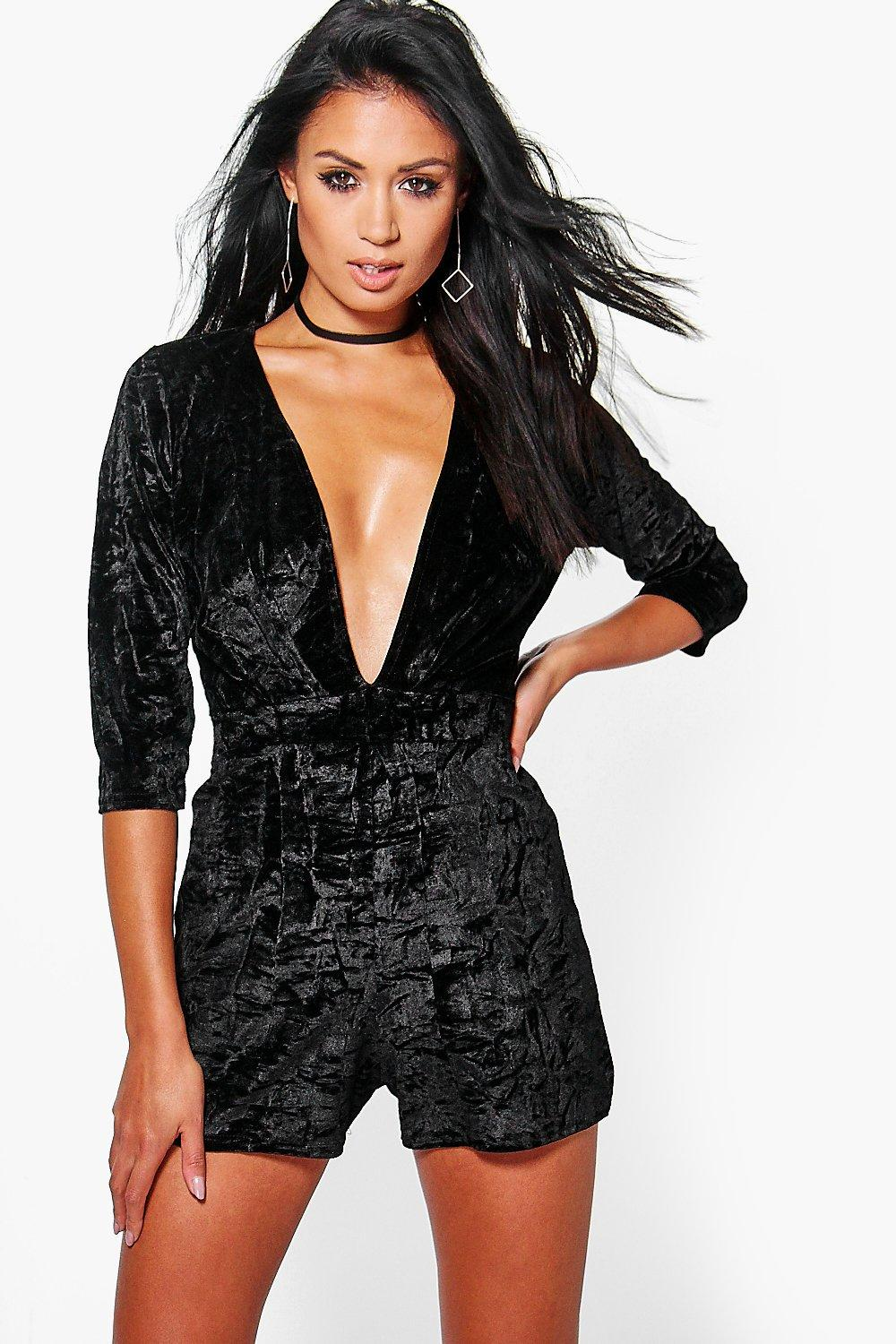 Pamela Deep Plunge Crushed Velvet Playsuit