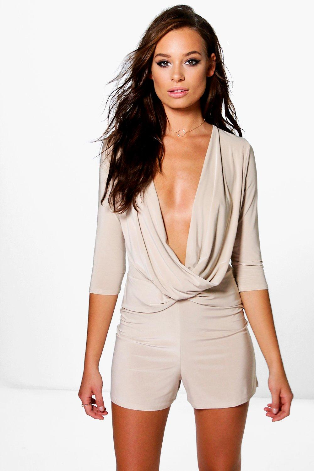 Delly Drape Wrap Slinky Playsuit