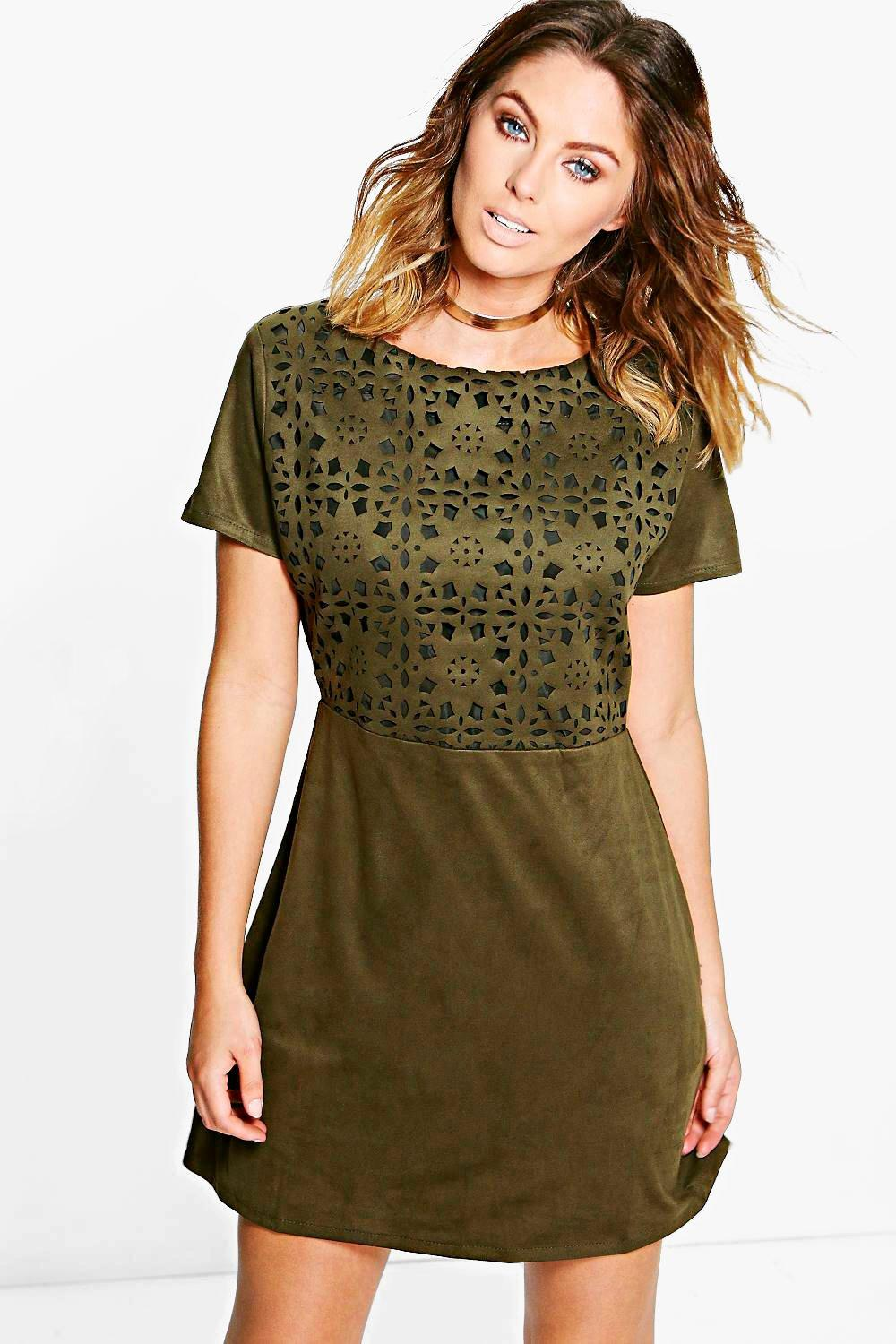 Mia Suedette Cutwork Strap Back Shift Dress