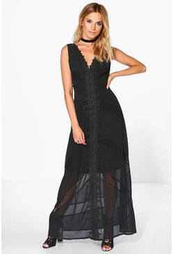 Boutique Lia Lace Detail Low Back Maxi Dress