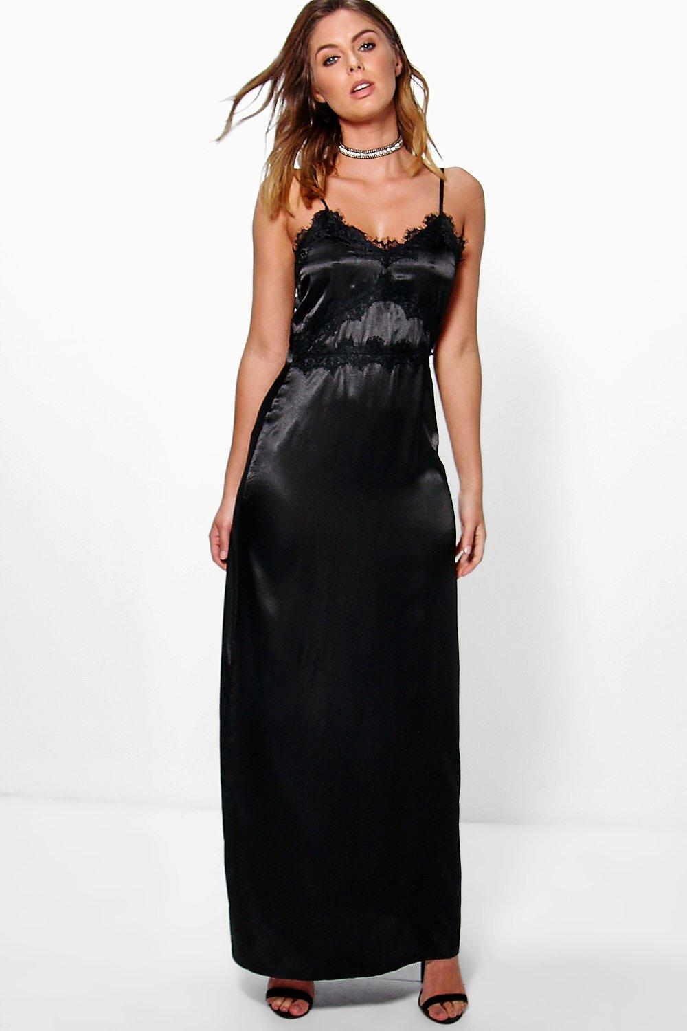 Boutique Mia Satin Lace Trim Slip Maxi Dress