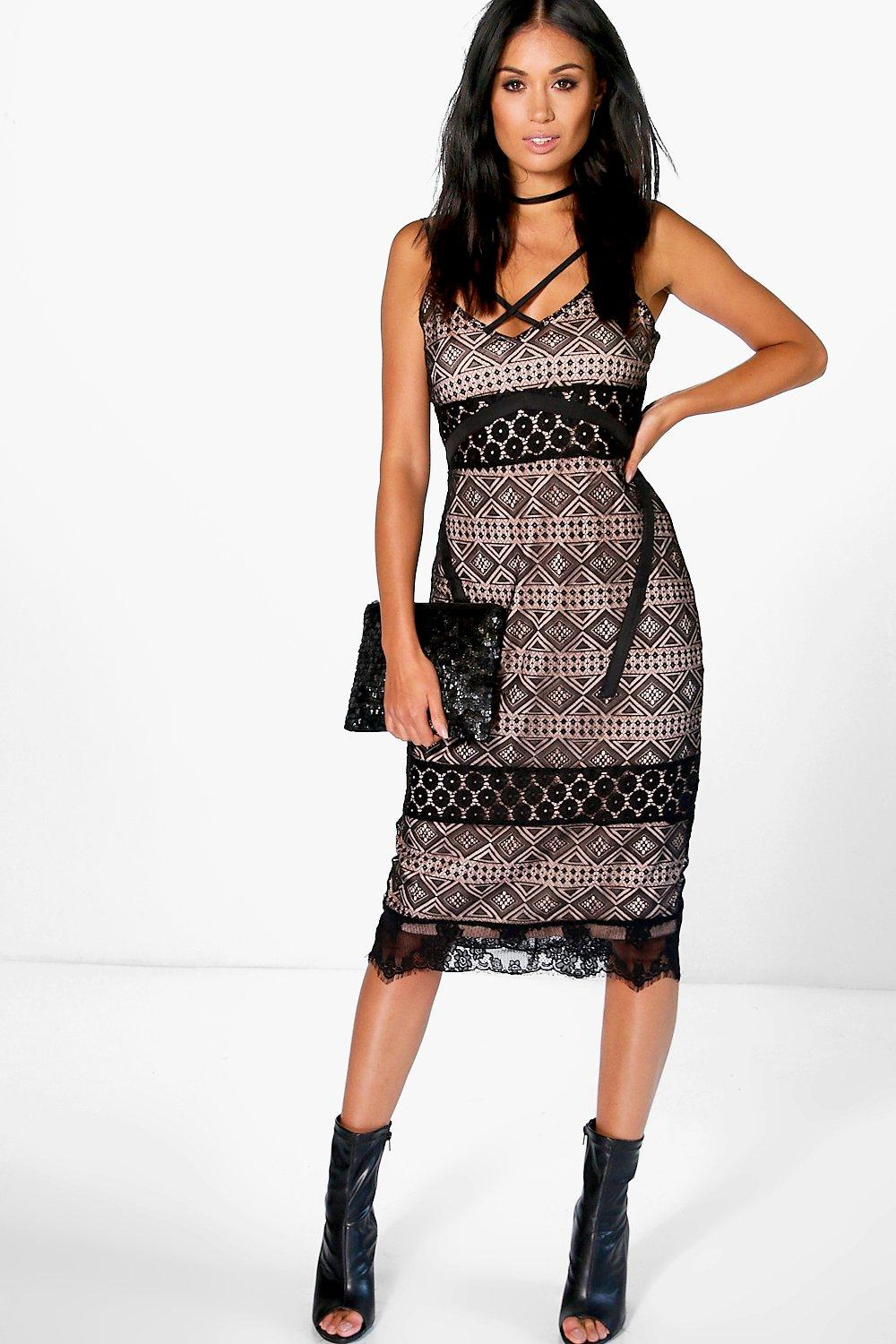 Boutique Fi Lace & Crochet Cross Strap Dress