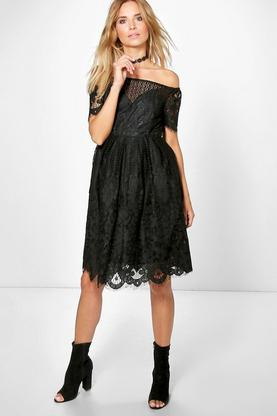 Boutique Zoe Lace Bardot Prom Dress