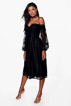 Boutique Le Lace Bardot Long Sleeved Dress